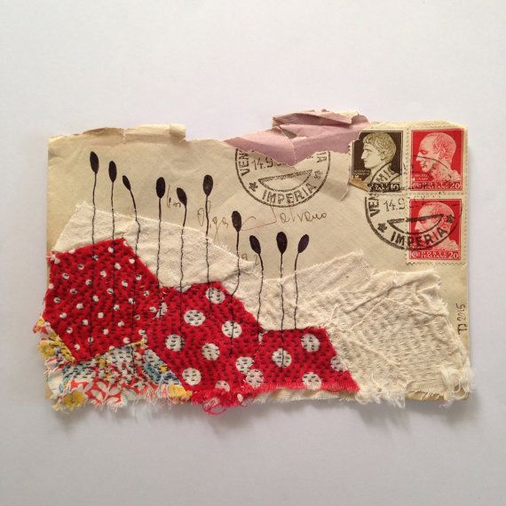 Original Mixed Media collage from Tina Jensen Art Studio  Published in SEW Somerset Winter 2016  Stitched textile art on original italian envelope Measures 5.8 x 3.8 inch  Thank you so much for visiting.