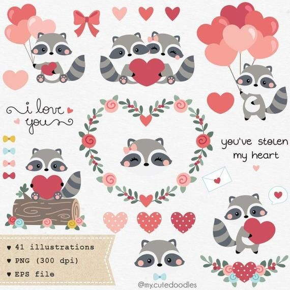 Valentines Day Clipart Woodland Animals Cute Raccoon Love Etsy Valentines Day Clipart Valentine Doodle Valentines Art