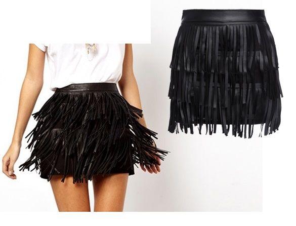 Mini jupe faux cuir noir à franges style indien - bestyle29.com