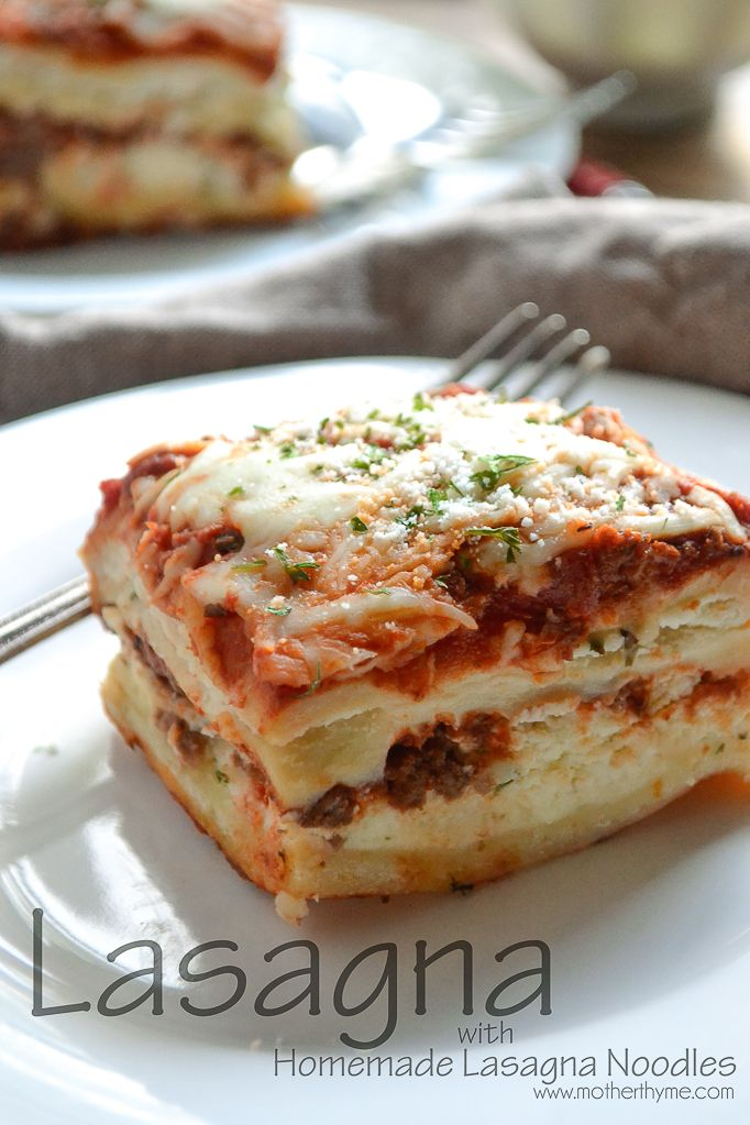 Enjoy a classic lasagna for dinner tonight made with fresh and easy homemade lasagna noodles. If you were to ask Mr. Mother Thyme what one of his favorite dishes I make is he would probably say lasagna. Every time I tell him I'm making it he gets a little twinkle in his eyes. So this …