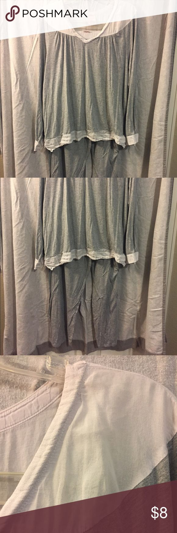 Cozy pajamas Grey stretchy Jammie's with cotton details. White has been discolored Intimates & Sleepwear Pajamas