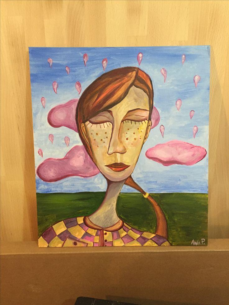 арт акрил рисунок современное искусство девушка портрет губы продаю картину Живопись acrylic  painting