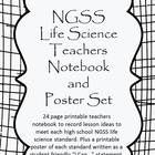 """A 48 page DOUBLE product. 24 pages of NGSS life science teachers notebook pages to record ideas, materials, and resources. Plus 24 pages of printable NGSS posters with each life science standard re-written as an """"I Can..."""" statement."""