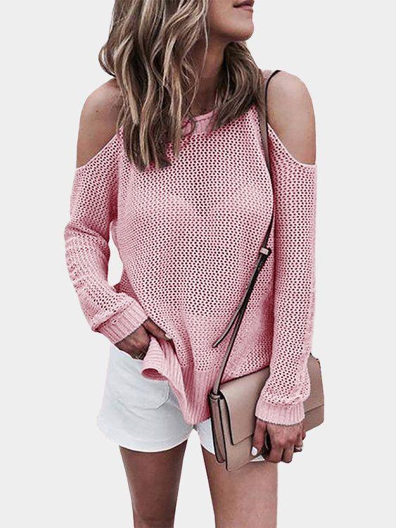 Pink Cold shoulder Long Sleeves Knitwear with Side Splited - US$23.95 -YOINS