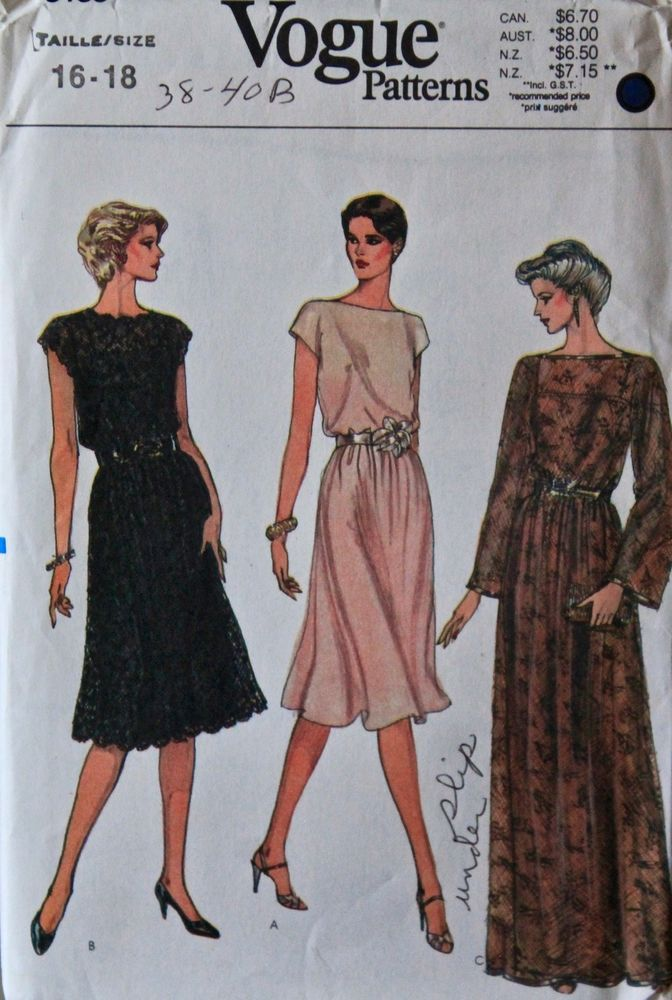 b4c7a4e8693 VINTAGE 1980 S VOGUE PATTERNS 8183 MISSES DRESS PATTERN SZ 16 18 UNCUT 1986