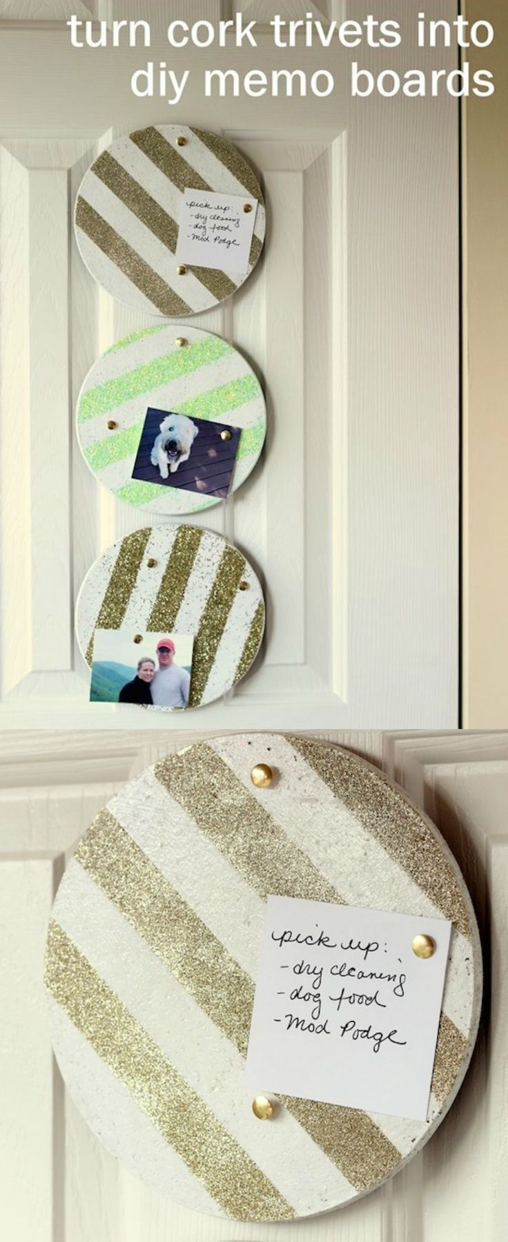 Use glitter and Mod Podge to turn old cork trivets into DIY memo boards! Customize with the glitter and paint colors of your choice.