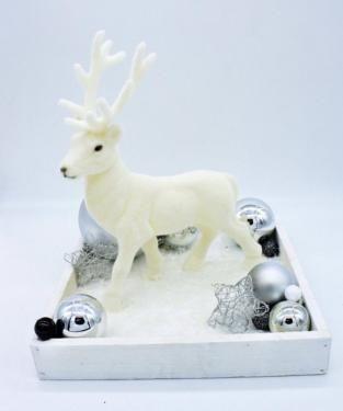 Weihnachtsdeko Hirsch Tischdeko Weiss Tablett Silber Weihnachten In