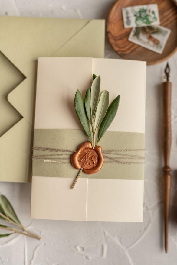 Partecipazioni Matrimonio Kitsch.Tusany Wedding Invitations Real Olive Tree Branch Invites Perfect