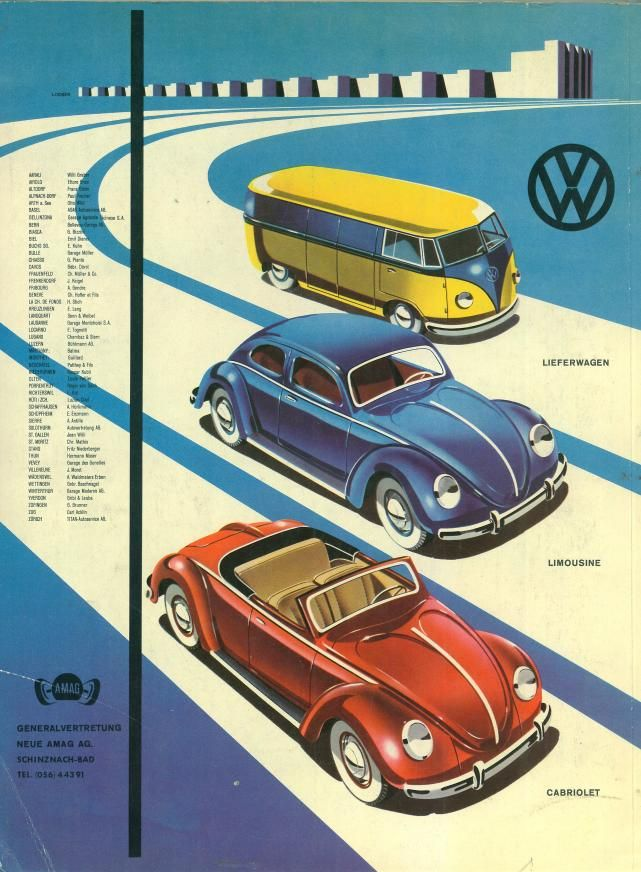 Vintage advertisement. Your choice of bus, sedan or snappy little red convertible, my favorite.