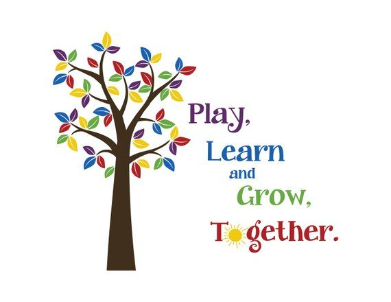Play Learn And Grow Together Tree Colorful Leaves Sun
