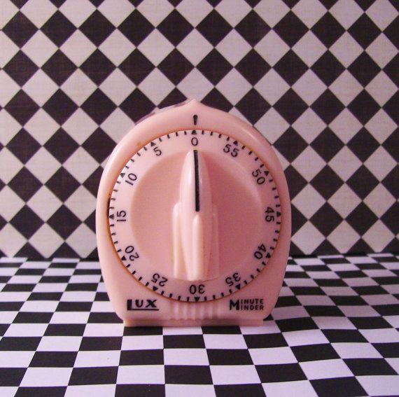 1950s PINK Lux Minute Minder Kitchen Timer