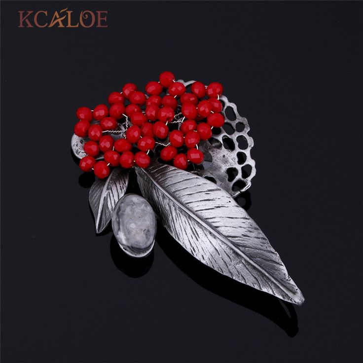 >> Click to Buy << Red Beads Vintage Brooches Women R Boho Jewelry Antique Metal Natural Stone Big Leaf Brooch Pins Wedding Accessories #Affiliate