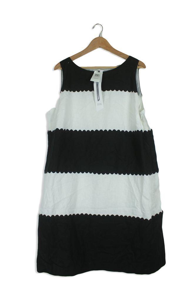 Rrp 3950marks Spencer Black White Block Shift Dress Size 20