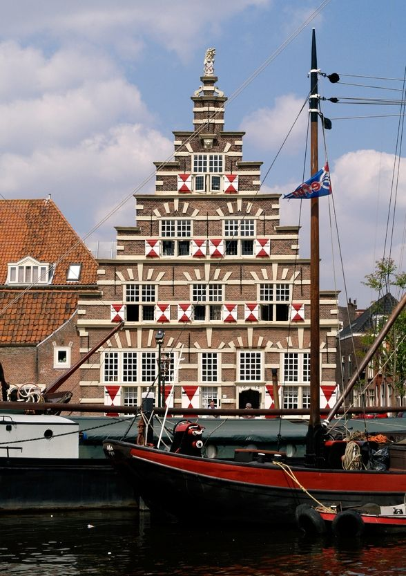 Leiden, Zuid-Holland, Netherlands, beautiful crow-stepped gable. Stadstimmerwerf at Kort Galgewater 21, built in 1612 (image 1 of 2)