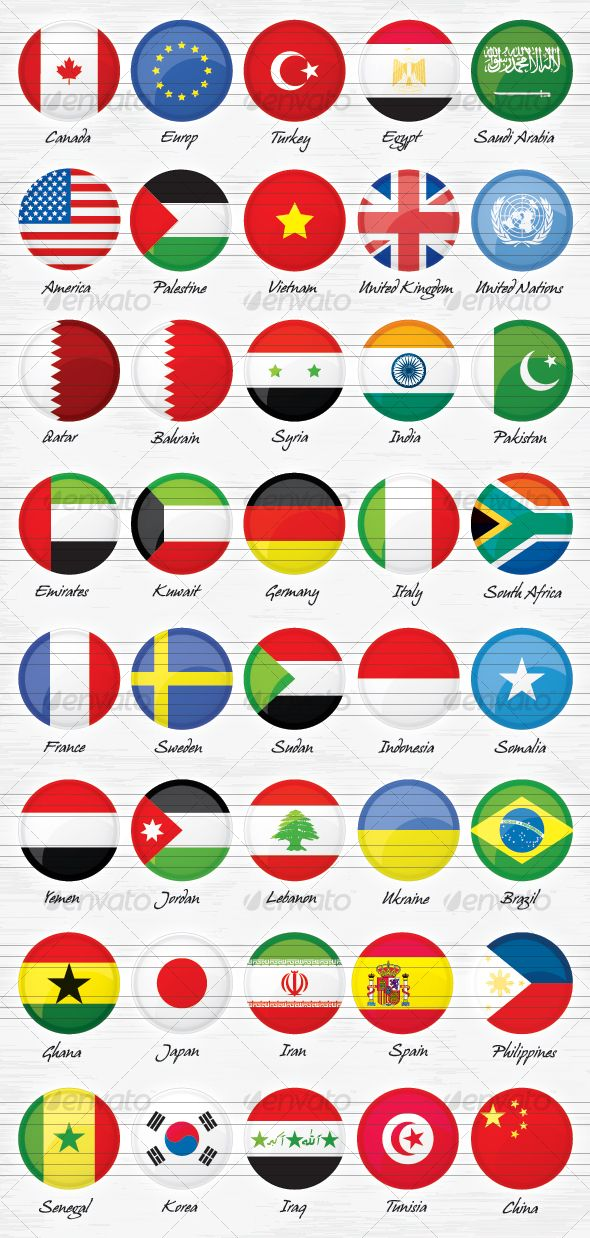 40 World Countries Flags Buttons  #vector • Click here to download ! http://graphicriver.net/item/40-world-countries-flags-buttons/81313?s_rank=32&ref=pxcr