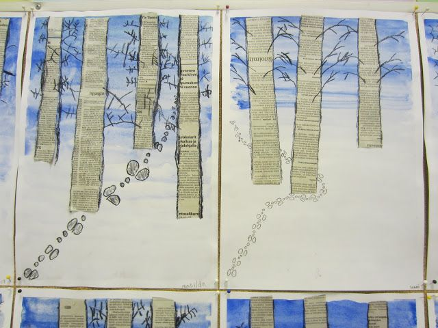 stromy - noviny- bílá - stopy