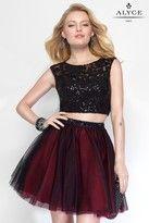 Alyce Paris - 4447 Two-Piece Short Dress In Black Dark Red