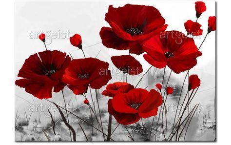 Peinture sur toile Coquelicots bordeaux - Coquelicots - Fleurs - Tableaux