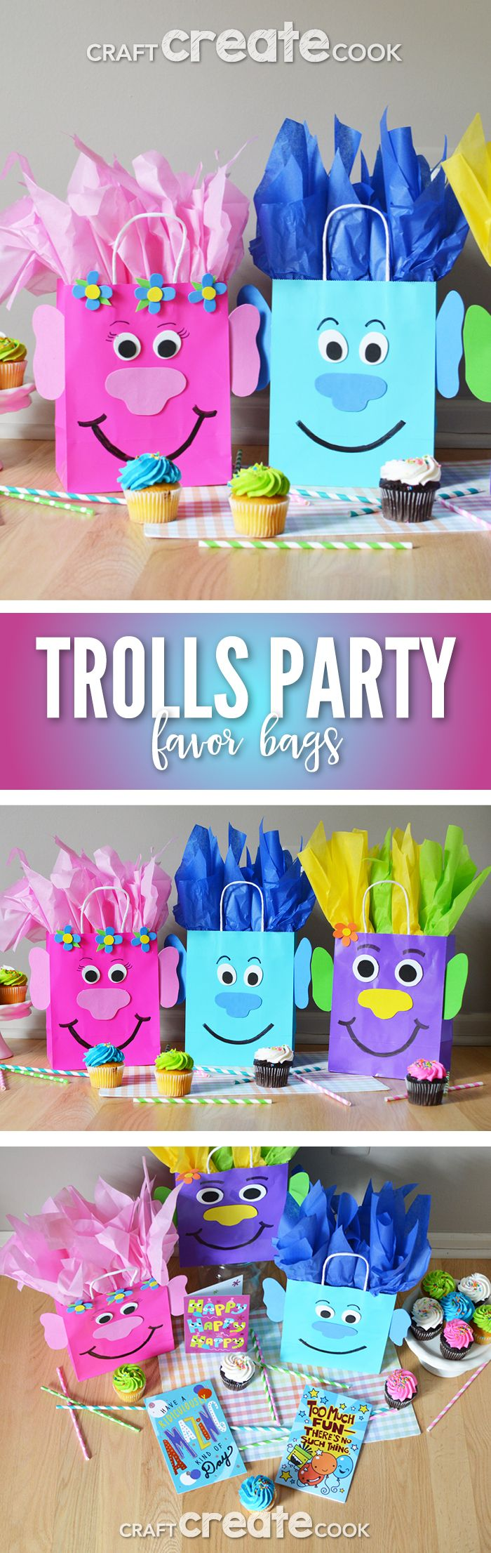 Easy to make Trolls Birthday Party Favor Bags! #BirthdaysMadeBrighter  #CollectiveBias [ad]