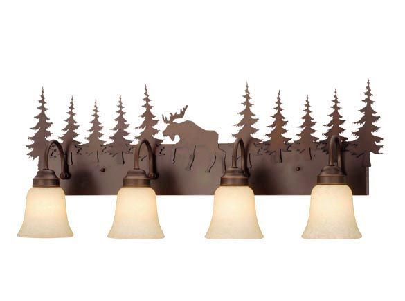 What better way to finish off your cabin or lodge bathroom than with a rustic burnished bronze vanity light. Accent of a Bear, Deer, Moose or all Trees.