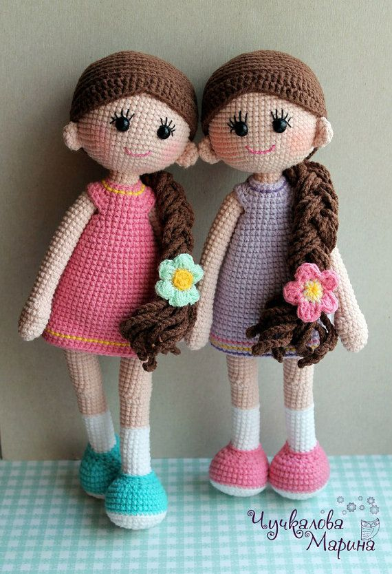 This pattern is available in English. It includes both dolls with different hair styles, shorts and dress)))  Note: prices include VAT VAT (Value Added Tax), a tax charged on most goods and services in the European Union  THIS IS A DOWNLOADABLE PATTERN ONLY and NOT THE FINISHED TOY Crochet pattern. Difficulty middle. Designe by Marina Chuchkalova  THIS PATTERN INCLUDES: - a .pdf file with detailed instructions - 21 pages long and has 70 pictures to help you by working - the pattern is…