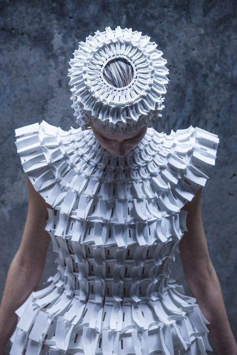 Dress made from interlocking foam pieces by Croatian designer Matija Čop - these garments reference construction techniques and shapes found in gothic architecture