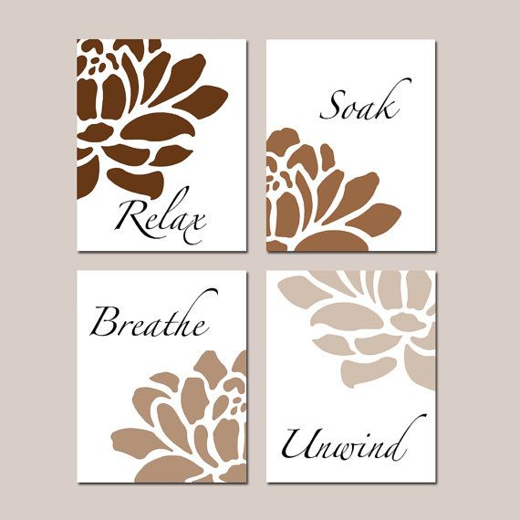 Neutral Tan Brown Floral Bathroom Art Relax, Soak, Breathe, Unwind - Flowers Petals Bathtub Spa - Set of Four 8x10 Prints CHOOSE YOUR COLORS