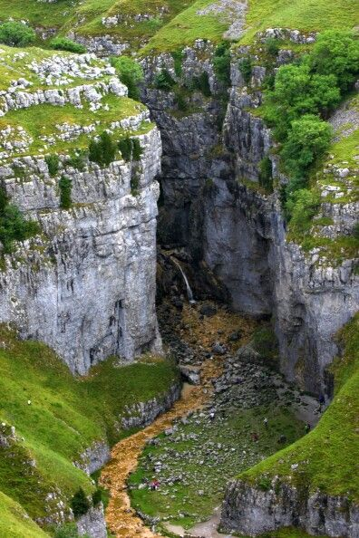 Gordale Scar, Yorkshire Dales. The sheer sides of this dramatic gorge were shaped by water from a melting glacier