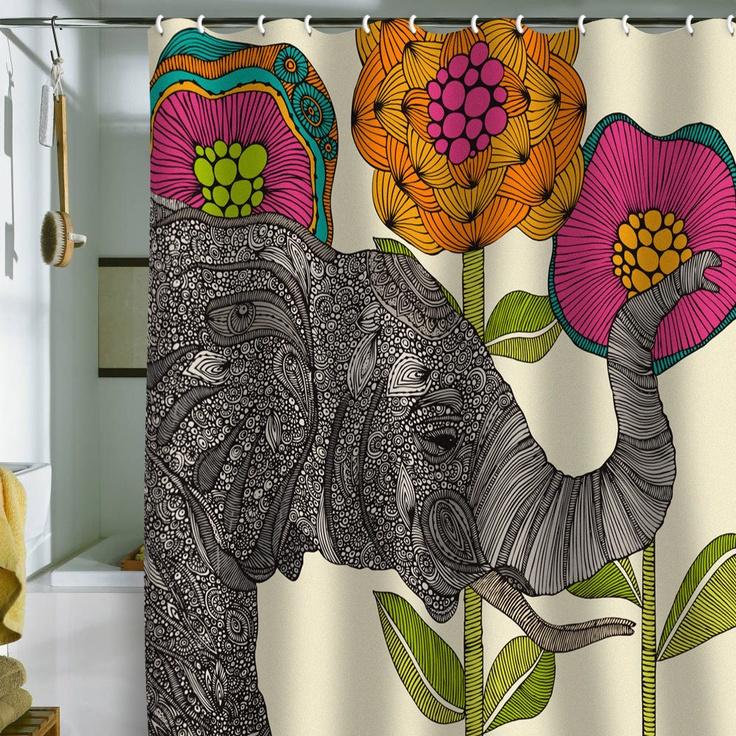 Valentina Ramos Aaron Shower Curtain #elephant #bathroom #color