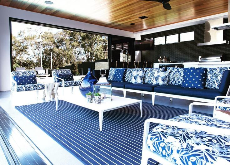 Our 'Coast Collection' in Broadwater Blue is perfect for outdoor living and entertaining #3beaches #sunbrella #coastcollection #faderesistant #waterresistant #stainresistant #luxury #woven #outdoorfabric #australiandesigners #textiledesign #interiordesign #beachstyle #indooroutdoorliving #luxurystyle Photo by @villastyling Fabrics by @3beachesdesigns @sunbrella Furniture by @duneoutdoor