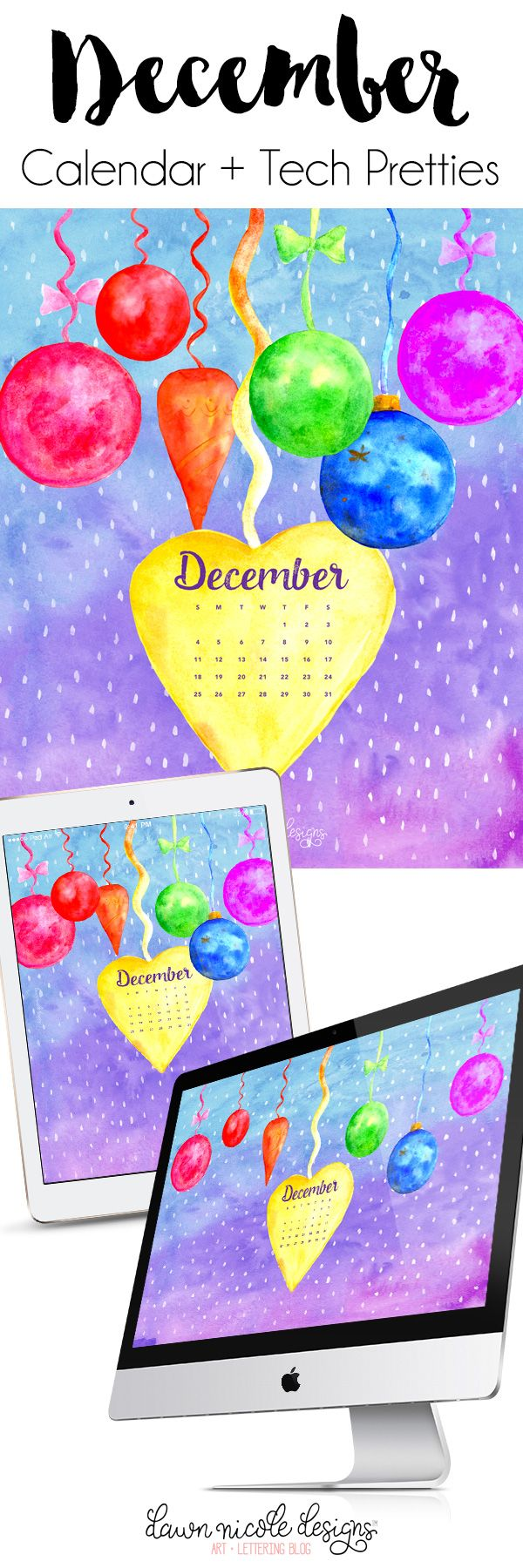 December 2016 Calendar + Tech Pretties | DawnNicoleDesigns.com