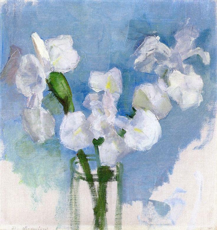 Piet Mondrian (1872-1944) White Irises against a Light Blue Background, I, circa 1909-1910