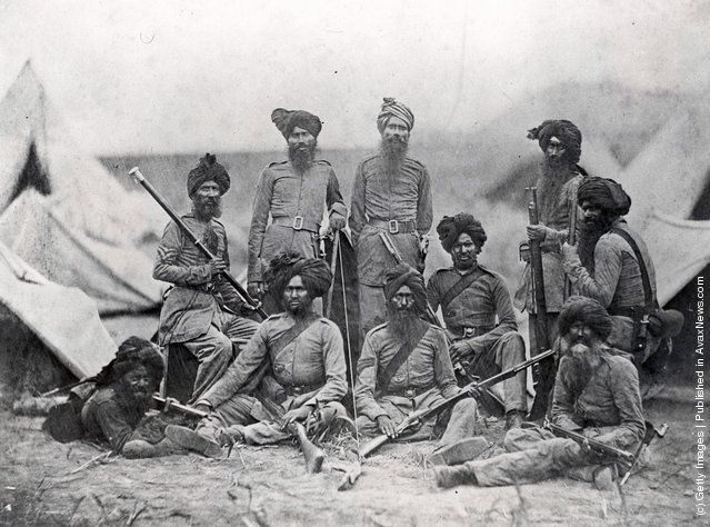 India In The 19th Century.     Sikh officers of the British 15th Punjab Infantry regiment, shortly after the Indian Rebellion (also known as the Indian Mutiny), 1858