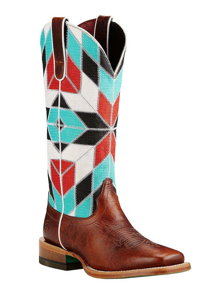 Ariat Women's Brown with Turquoise, Red, White, and Black Multi Pattern Western Square Toe Boots | Cavender's