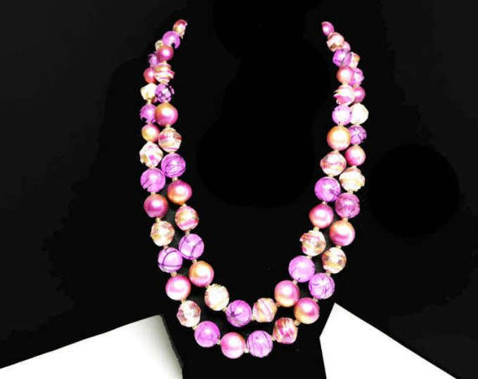 Jewels Fashion Multi-Strand Pink Bead Necklace Earring Set