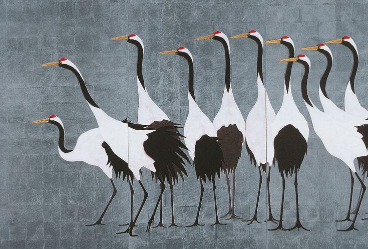 sumi-no-neko: 群鶴図 Cranes, 1988by 加山 又造 Kayama Matazo (1927-2004)