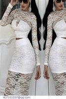 crop top and skirt women clothing set sexy white balck Lace long-sleeve blusa renda and faldas LC6819 atumn winter clothes women