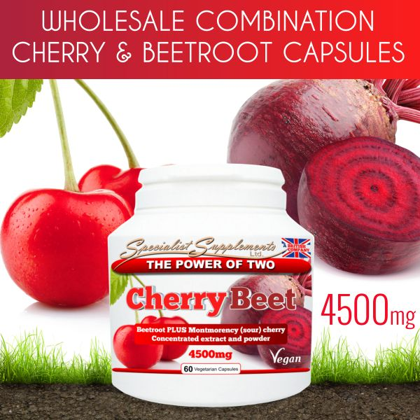 WHOLESALE SUPPLEMENTS: Combination beetroot and Montmorency cherry capsules at competitive wholesale prices - great profit margins on resale! A highly concentrated combination of beetroot extract (10:1) and beetroot powder, with Montmorency cherry extract (10:1) and Montmorency cherry powder - 4500mg per capsule! No minimum orders; white label / private label option; dropshipping available. CLICK HERE to find out more...