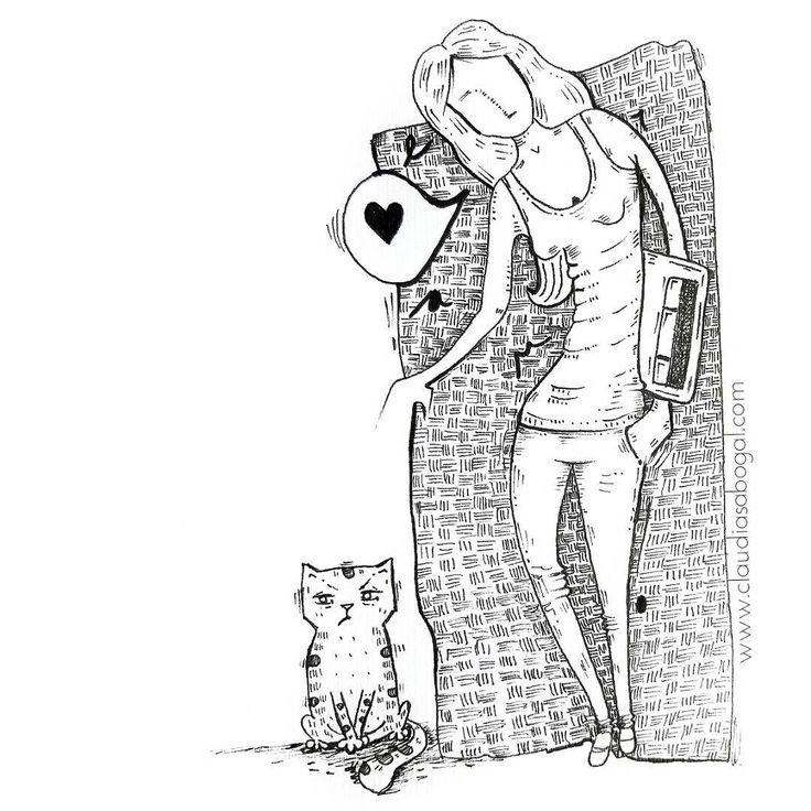 "46 Me gusta, 2 comentarios - Claudia Sabogal G. (@cgrafica) en Instagram: ""Ejer. Autorretrato.  #illustration #gatos #cats #catslover #catsofinstagram #catsgram #penart…"""