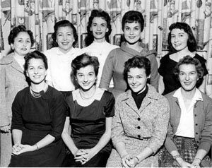 The Girls Behind the Voices: Front row, (l to r) Janie Joplin, Dottie Stevens, Sandra Clarke, Josephine McKinnon. Back row, Demaris Smith, Jeanne Botto, June Lyn, Julie Vinson and Becky Phillips. Photo: Press-Scimitar, Oct. 28, 1959.