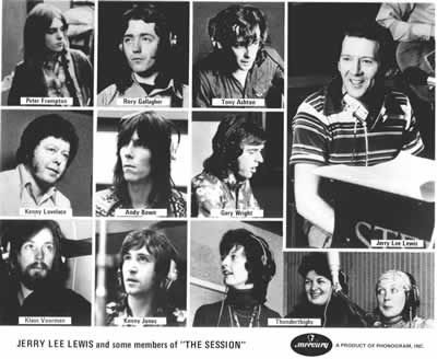Peter Frampton, Rory Gallagher, Tony Ashton, Kenneth Lovelace, Andy Bown, Gary Wright, Klaus Voorman, Kenny Jones,and the Thunderthighs all pictured at the London Sessions all backing Jerry Lee Lewis.