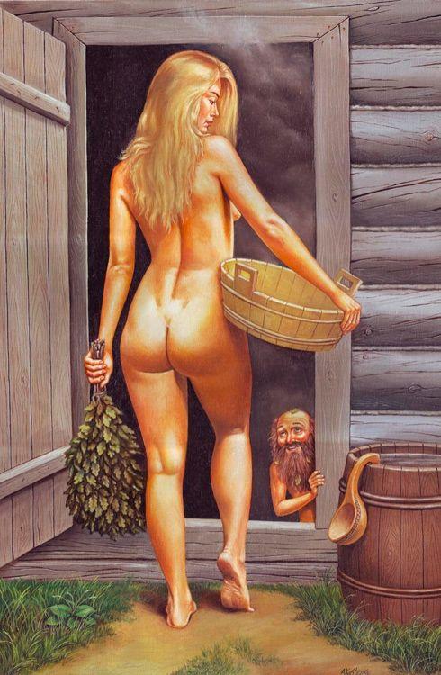 Транс в женской бане