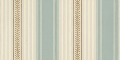 Maddox Street (0273MSBLUED) - Little Greene Wallpapers - A classic Regency stripe recovered from the oldest house on Maddox St, Mayfair. A narrow gold stripe with small leaf design infill is bordered by narrower tonal blue and white stripes, and a block stripe of blue. Please order sample for true colour match.
