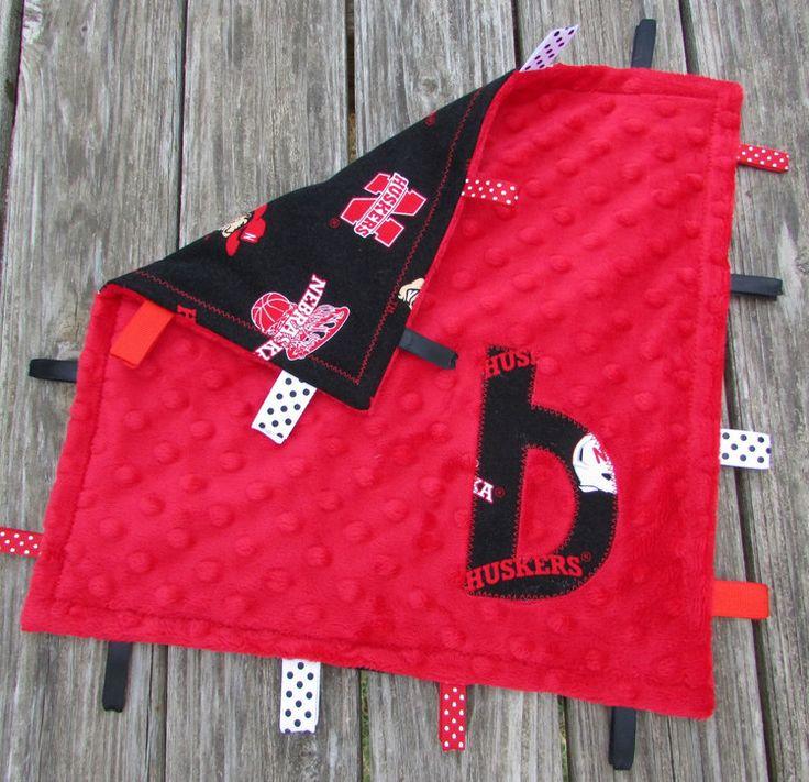 Personalised Tag Blanket Child Lovie Nebraska Huskers Soccer Sensory - http://babyfur.net/personalized-tag-blanket-baby-lovie-nebraska-huskers-football-sensory/