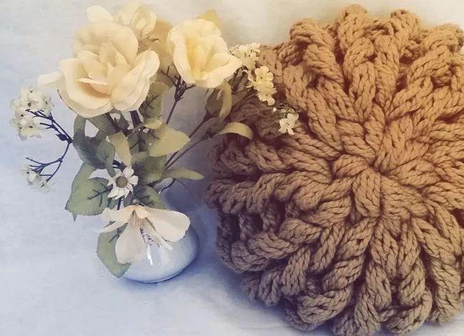 almohadon circular tejido hilado de algodon 35cm