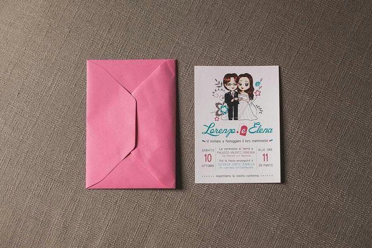 Partecipazioni matrimonio con caricatura degli sposi a tema tè.  Wedding invitations with illustration.