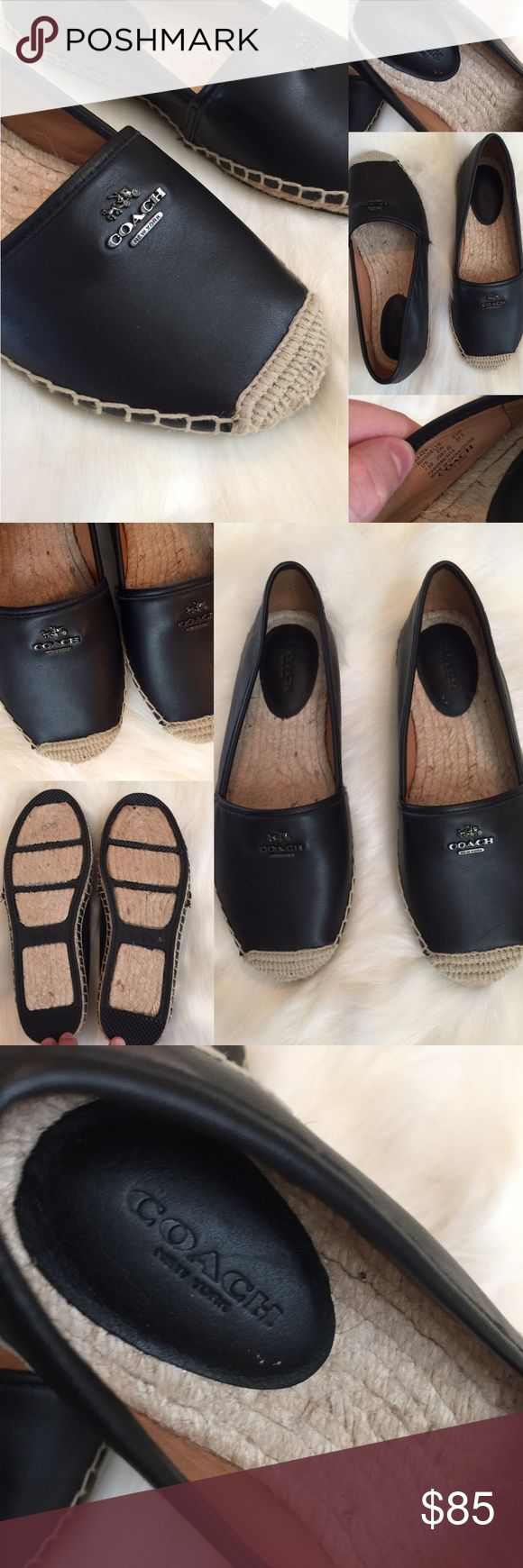 COACH Rhodelle Leather Espadrille Flat Loafer, 7.5 New without tags!   Gorgeous soft black leather espadrille flats, COACH brand!  Size 7.5  Coach Shoes Espadrilles