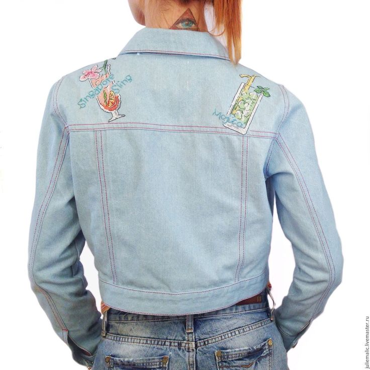 Women's denim jacket with hand 'cocktail' embroidery|Women's blue jacket|Women's denim jacket|Embroidery jacket|Embroidered jacket