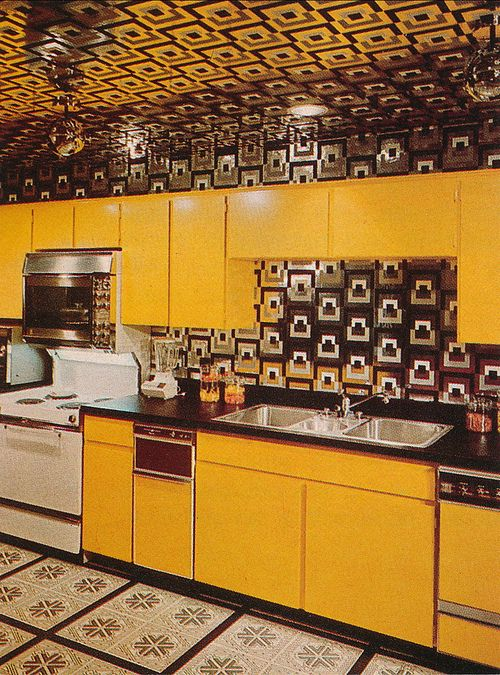 yellow retro kitchens - photo #28