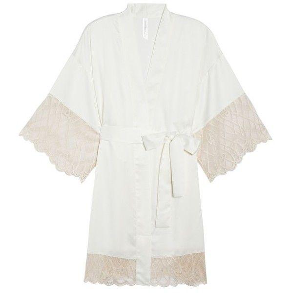 Women's Flora Nikrooz Gabby Satin Kimono Robe (1.815 CZK) ❤ liked on Polyvore featuring intimates, robes, sheer bathrobe, sheer kimono robe, sheer dressing gown, transparent robe and robe kimono